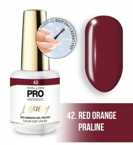 42. RED ORANGE PRALINE LUXURY GEL POLISH COLOR COAT - HYBRYDA ŻELOWA UV/LED Mollon PRO 8ml