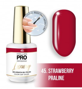 45. STRAWBERRY PRALINE LUXURY GEL POLISH COLOR COAT - HYBRYDA ŻELOWA UV/LED Mollon PRO 8ml