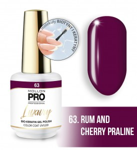 63. RUM AND CHERRY PRALINE LUXURY GEL POLISH COLOR COAT - HYBRYDA ŻELOWA UV/LED Mollon PRO 8ml