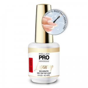LUXURY BIO-KERATIN DRY TOP COAT UV/LED NO WIPE - Mollon PRO 8ml