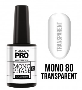 80. TRANSPARENT - Lakier jednofazowy Monophase UV/LED Vernis - Mollon PRO