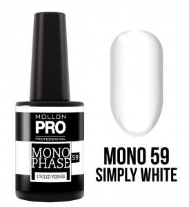 59. SIMPLY WHITE - Lakier jednofazowy MONOPHASE UV/LED VERNIS - Mollon PRO