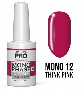 12. Think Pink - Monophase Cream one step 10ml - jednofazowy lakier hybrydowy oparty na systemie SMART - Mollon PRO