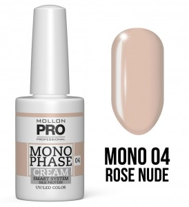 04. Rose Nude - Monophase Cream one step 10ml - jednofazowy lakier hybrydowy oparty na systemie SMART - Mollon PRO