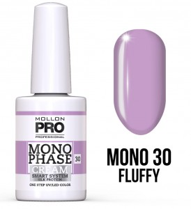 30. Fluffy - Monophase Cream one step 10ml - jednofazowy lakier hybrydowy oparty na systemie SMART - Mollon PRO